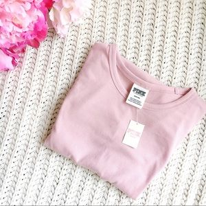 VS Pink Short Sleeve Ribbed Fitted Crew Tee
